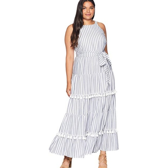 937e55e038b Eliza J Dresses   Skirts - ELIZA J Stripe Tassel Pom-Pom Fringe Dress
